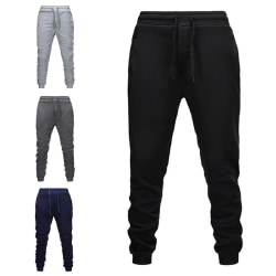 Men Fleece Padded Long Sport Pants Gym Slim Trousers Running Jog White M