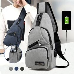 Herr Dam Axelväska Sling Bröstpack USB-laddning Sports Cro Black one size