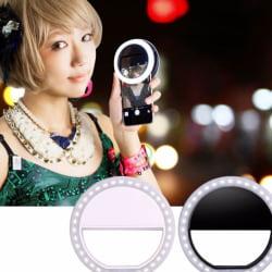 Mobile Phone Light Clip Selfie LED Flash Round Portable Flashlig Blue
