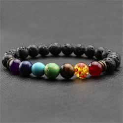 Nytt 7 Chakra Healing Balance Pärlarmband Lava Yoga Reiki Pr Multi One Size