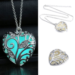 New Glow In The Dark Heart Pendant Necklace Chain Luminous Magic Blue