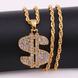 New Punk Crystal Dollar Sign Shape Hip Hop Men Chain Sweater Nec