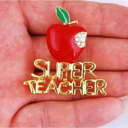 Ny röd Super Teacher Xmas Gift Unisex med Crystal Brooch Pin