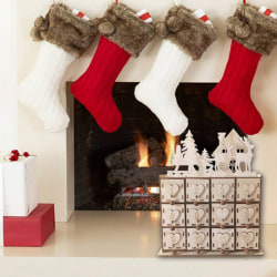 New Wooden Christmas Advent Calendar With 24 Drawers House Decor 22cm*12cm*27.5cm