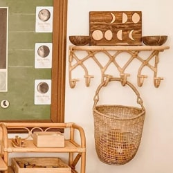 Nordic Vintage Rattan Wall Hooks Clothes Hat Hanging Hook for Ho B