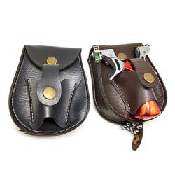Outdoor Sports Steel Ball Package Leather Slingshot Bag Back Thr Brown