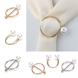 Pearl Brooch Pin Silk Scarf Buckle Women Shawl Scarf Clip Jewelr C