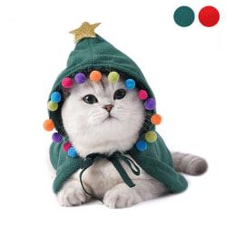 Pet Cat Christmas Costume Cloak Hoodie Poncho Cape Coat Warm Xma Green L