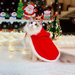 Pet Cat Christmas Costume Cloak Hoodie Poncho Cape Coat Warm Xma S