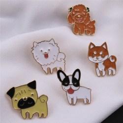 Pet Dog Bulldog Pug Collar Pin Badge Cute Enamel Brooch Pin Wome StyleA