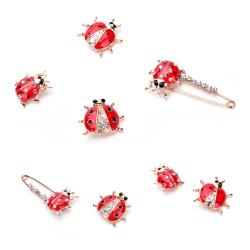 Röd nyckelpiga djur emalj design broschnål mode smycken för