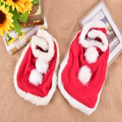 S/M Pet Christmas Red Cloak Dog Cat Santa Cosplay Clothe Xmas Pu Red M