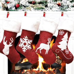 Santa Claus Christmas Stocking Socks Gift Bag for Kids Candy Sto Snow