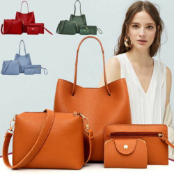 Set Of 4pcs Women Lady Leather Handbag Shoulder Tote Purse Satch Black