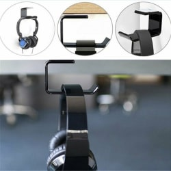 Simple Headphone Stand Hanger Hook Tape Under Desk Dual Headset