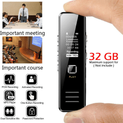 USB Audio Sound Recorder Pen 32GB Dictaphone MP3 Player Noise R Black