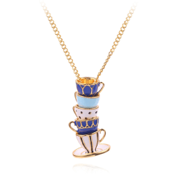 Woman Long Sweater Chain Tea Cup Pendant Necklace Enamel Charm J Multicolor