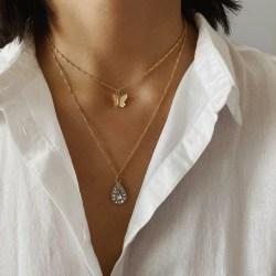 Kvinnor fjäril vatten droppe kristall hänge legering halsband Clavi