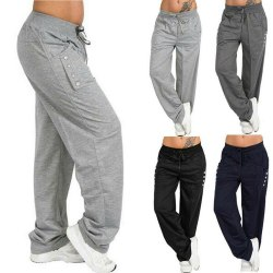 Women Joggers Tracksuit Yoga Leggings Sport Trousers Jogging Swe Gray XL