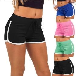 Dam Dambyxor Gym Yoga Mini Shorts Randig Dance Sport Fit Black S