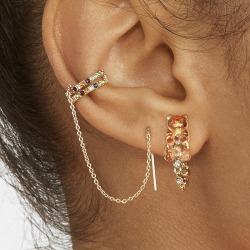 Kvinnors långkedjaörhängen C-formad Crystal CZ Earcuff Statement Multicolor