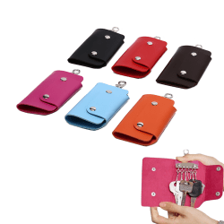 Women Men Leather Car KeyChain Card Holder Wallet Case key Organ Brown