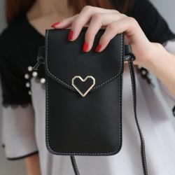 Kvinnor utomhus hjärtformade dekorativa Crossbody väska mobil Phon Black