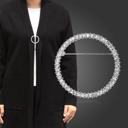 Women Simple Circle Crystal Clip Holder Brooches Pins Jewelry Ac Silver