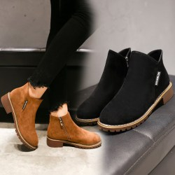 Women Suede Ankle Boots Short Martin Boots Chunky Heels Boots Black 42
