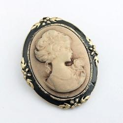 Women Vintage Cameo Elegant Brooch Pin Antique Wedding Charm Por Bronze