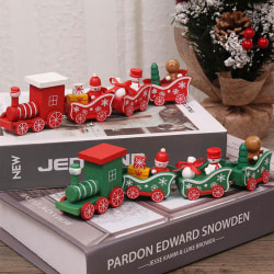 Wooden Christmas Train Ornament Christmas Decoration For Home Sa Red