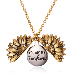 You Are My Sunshine Open Locket Sunflower Pendant Necklace Fashi Gold
