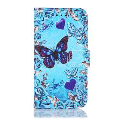GadgetMe Plånboksfodral iPhone 6/6s/7/8 Blå fjärilar