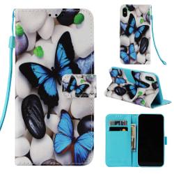 Fjärilar iPhone X/Xs Plånboksfodral blå fjäril