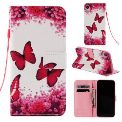 Fjärilar iPhone XR Plånboksfodral rosa fjäril
