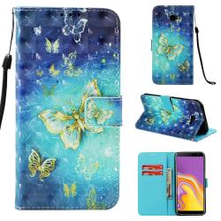 GadgetMe Plånboksfodral Samsung Galaxy J4+ (2018) gold butterfly