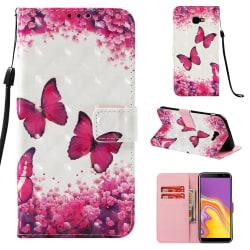 GadgetMe Plånboksfodral Samsung Galaxy J4+ (2018) pink butterfly