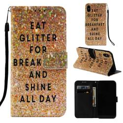Glitter iPhone X/Xs Plånboksfodral eat glitter