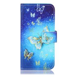 GadgetMe Plånboksfodral iPhone 6/6s/7/8 Guldiga fjärilar
