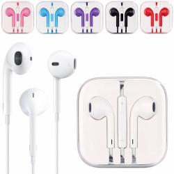 Hörlurar med Mikrofon och Volymkontroll för iOS & Android vit