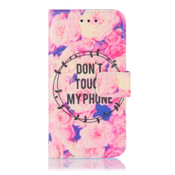 Plånboksfodral iPhone 12/12 Pro GadgetMe - Olika Motiv Don't touch my phone rosa