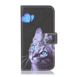 GadgetMe Plånboksfodral iPhone 6/6s/7/8 Katt grå/vit