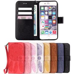 Plånboksfodral iPhone 8 Plus / 7 Plus - Ingraverade Drömfångare vit + rosa