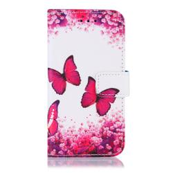 GadgetMe Plånboksfodral iPhone 6/6s/7/8 Rosa Fjärilar