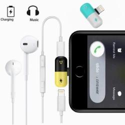 Splitter dubbel Adapter Lightning för iPhone iOS 13 Vit / Blå
