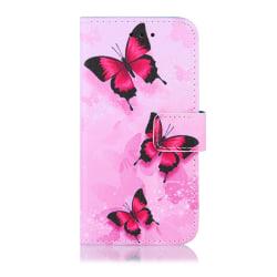 GadgetMe Plånboksfodral iPhone 6/6s/7/8 Fjärilar Svarta/Rosa