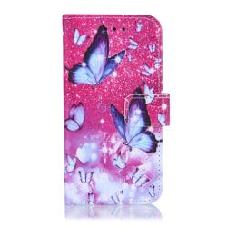 GadgetMe Plånboksfodral iPhone 6/6s/7/8 Vit/Lila Fjärilar