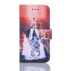 GadgetMe Plånboksfodral iPhone 6/6s/7/8 Vit tiger