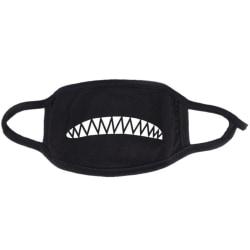 Ansiktsmask - Svart - Hajtänder - Maskerad Svart one size