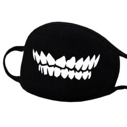 Ansiktsmask - Svart - Tänder - Maskerad Svart one size
